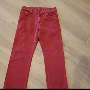 For All Mankind Red Slimmy Jeans Size 29